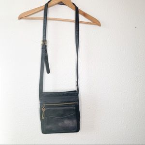 Fossil black leather crossbody purse bag